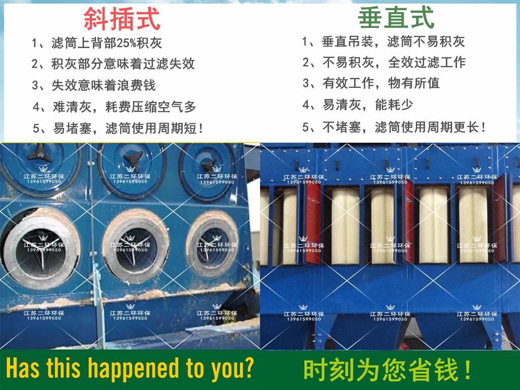沉流式与垂直式滤筒除尘器对比图